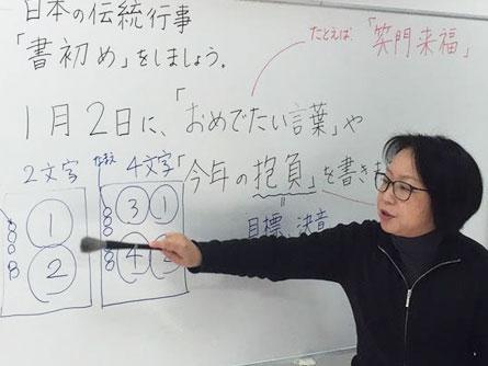 文字を半紙に書く際に配慮する点をボランティアが説明